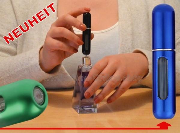 NEUHEIT wiederbefüllbares Parfumflakon Zerstäuber für Tasche Handtasche 5ml BLAU