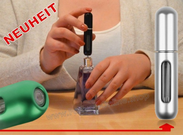 NEUHEIT Parfümzerstäuber LEER Parfum Flasche Flakon für Taschenparfüm 5ml SILBER