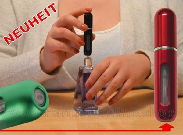 NEUHEIT Mehrweg mini Parfümflasche Pocket Atomizer für Tasche Reise ROT-CHROM