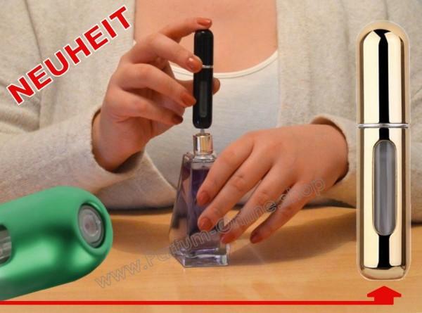 NEUHEIT Pump-Parfümzerstäuber LEER Flasche Flakon f Taschenparfüm 5ml GOLD-CHROM