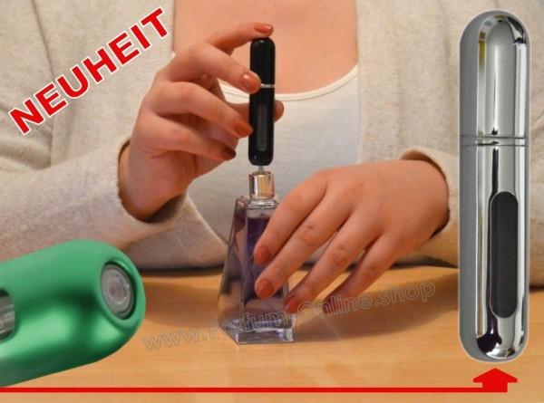 NEUHEIT Taschenzerstäuber to Go LEER Flacon für 5ml Parfüm mini Atomizer SILBER-CHROM