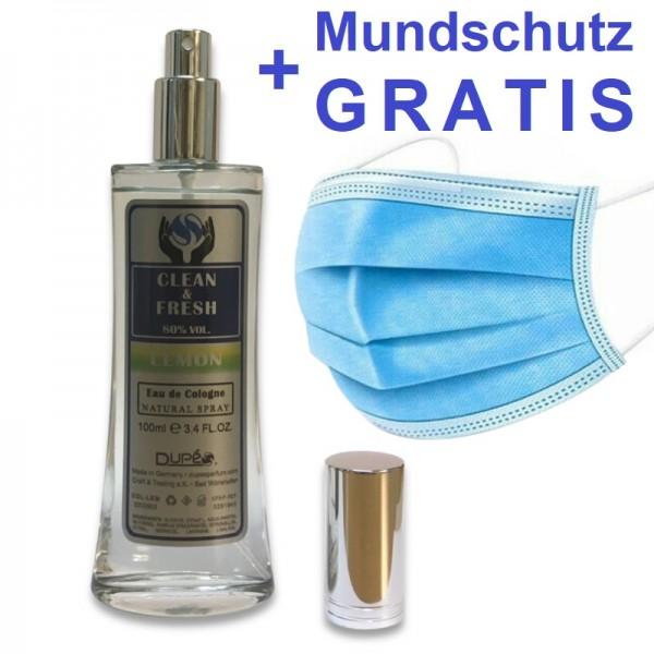 100ml CLEAN & FRESH +GRATIS MUNDSCHUTZ Hygiene SPRAY mit ZITRUSDUFT 80% Alkohol
